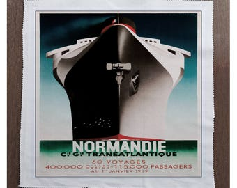 Normandie Ship travel - Sewing, Cushion, Upholstery, Craft, Patchwork and Quilting Fabric Panel 100% cotton