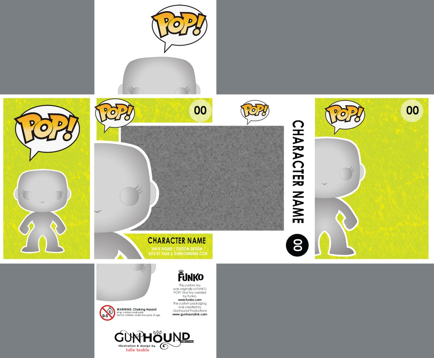 PHOTOSHOP files for custom Funko Pop Vinyl toy packaging.