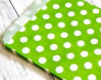 Polka A Dot Paper Bags. Green Polka Dots. Green Paper Bags. Green Treat Bags. Glassine Paper Bags. Journal Ephemera. Junk Journal Paper.