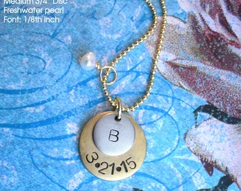 """Mother's Necklace .. Double Charm Pendant .. 18"""" chain and pearl or crystal included . Customize both metal discs . Copper, Silver or Gold"""