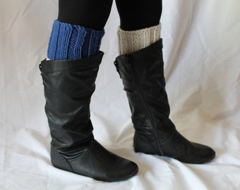 SALE: Hand Knit Boot Cuffs, Two in One Boot Cuffs, Boot Toppers. Leg Warmers- Blue and Cream