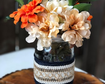 Denim Mason Jar for Centerpiece-Set of 8 Mason Jars