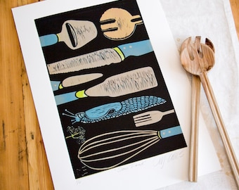 linocut, Slow Food, chef, kitchen, utensils, blue, beige, black, snail, printmaking, kitchen art, chef, cooking, home interior, food, spring