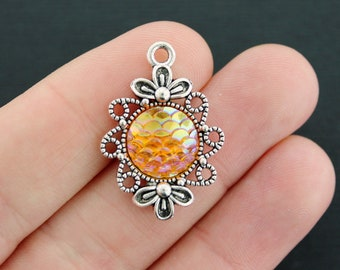4 Mermaid Scale Charms Antique Silver Tone Ornate Setting Orange Color - Z543 NEW5