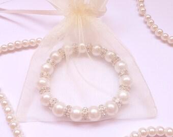 Bridesmaid Bracelet Swarovski White Pearl Chain Bracelet Bridal Bracelet Bridesmaid Gift Personalized Bridesmaid Gift Bridesmaid Jewelry
