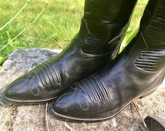 vintage black western oxford cowboy short riding boots 80s leather motorcycle joan & david italy biker chic size 41 size 9.5 womens