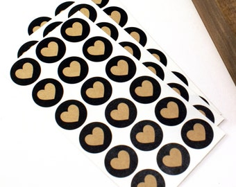 """Shop Exclusive - kraft hearts with black background - 1"""" round heart stickers - packaging & stationery"""