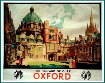 Art Print Oxford University Colleges 1930s Poster Print 8x10