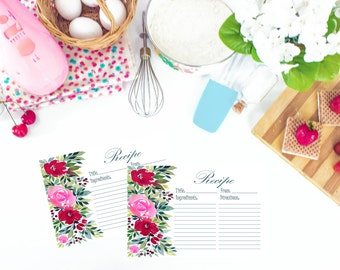 Floral Watercolor Recipe Cards 5x7 set of 10, 20, 30, 50, recipe cards, watercolor recipe cards, bridal recipe cards
