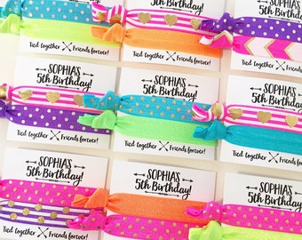 Neon Birthday Party Hair Tie Favors | Rainbow Birthday Hair Tie Favors, Personalized Party Favors, Girls Sleepover Dance Party Neon Colors