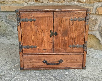 Wooden cupboard with drawer , reclaimed wood cabinet with drawer , rustic cupboard cabinet