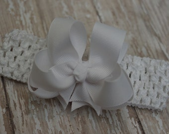 White Baby Headband Double Layered Infant Toddler Bowband