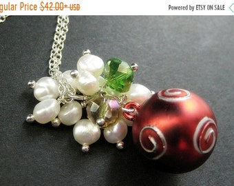 MOTHERS DAY SALE Red Christmas Necklace. Christmas Ornament Necklace with Crystal and Pearl Cluster. Handmade Christmas Jewelry.