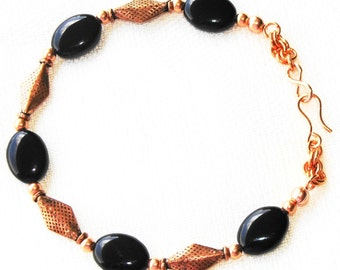Pure Copper Bracelet with Black Glass and Mini Chainmaille