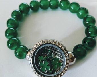 Shamrock Locket Beaded Bracelet