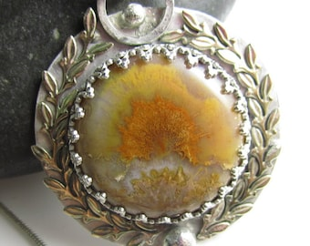Mt Olympus Necklace - Sterling Silver, Plume Agate with Gold-fill Laurels, Torch on back