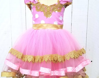 Pink and gold Minnie Mouse birthday outfit, Pink and Gold dress, MINNIE MOUSE dress, pink  Minnie Mouse dress, baby girl 1st birthday outfit
