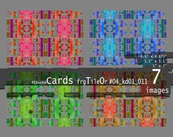 Printable Cards Instant Download Sheet Sets of 7 Digital Images, Abstract Greeting Card, Multicolored Image