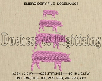 Pig Embroidery Design, Pig Embroidery File, Stacked Pigs Embroidery Design, DODEMAN023