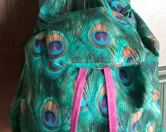 Pretty Peacock Backpack, Purse or Every Day Carry. Drawstring Main Body, Padded Straps and Bonus Pocket!