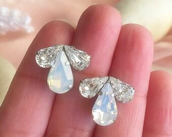 Bridal Opal Earrings, Clear swarovski bridal earrings, bridesmaids wedding accessories, vintage style sparkly earrings, stud earrings ,
