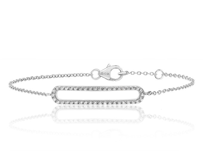 "925 Sterling Silver Fine Cz Elongated Lozenge 7"" Bracelet Rhodium Plated"