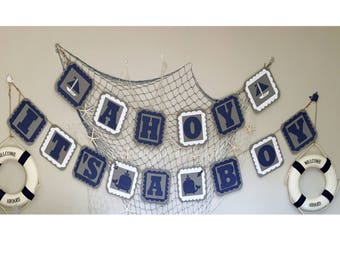 Ahoy It's A Boy Baby Shower Banner Nautical Theme Welcoming Party Banner