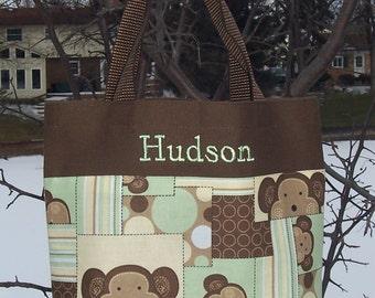 Personalized tote bag, dance bag, boy's tote bag, monkey tote bag,Embroidered Tote Bag, backpack, Brown Tote Bag, Tote Bag BTB30 - RB