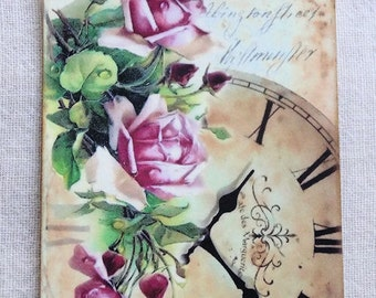 Pink Rose Clock Time Gift or Scrapbook Tags or Magnet #562