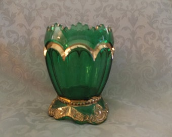 Emerld Glass With Gold Highlights Fotted Vase