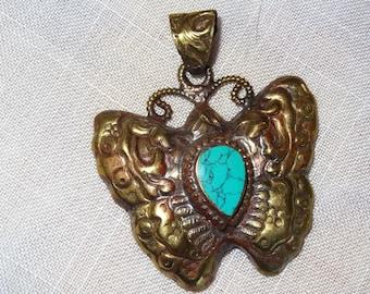 Nepalese pendant with semi precious stones - holidays gift idea