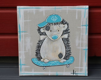 Hedgehog skateboarder, Acrylic paint