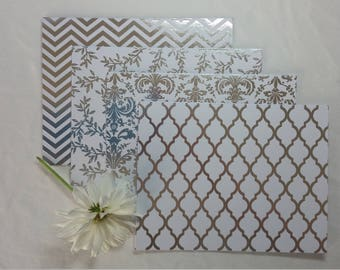 Silver Note Cards Set of 4 with Envelopes