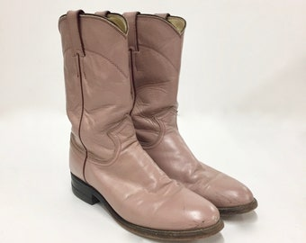Pink Cowboy Boots by Justin - Women's Size 6.5, Vintage Pink Boots - Pale Pink