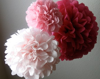 15 Tissue Paper Pom Poms - Your Color Choice- SALE - Wedding - Tea Party - Baptism - Nursery Decoration