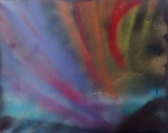 16x20 inch Fluorite #2 Spiritual Painting On Stretched Canvas Energy Art Abstract Spray Paint Healing Energy 40 x 50 centimeters