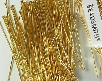 "BEADSMITH GOLD-PLATED 2"" Headpins Flat-Head (20 pins) 21 gauge/.029"