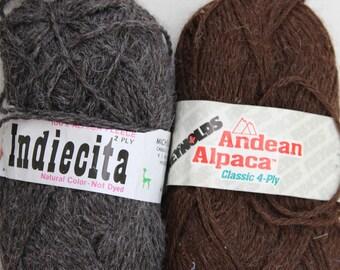 12 oz Charcoal and Brown Alpaca Yarn Destash / Indiecita and Reynolds Knitting Yarn