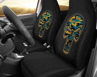 Jacksonville Jaguars/Punisher/Camo/Car/Micro Fiber/Seat Covers/NFL/Jacksonville/Jaguars/Football/Skulls/Gifts/Mens/Ladies