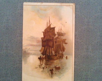 Antique Victorian Trade Card of Sailing Ship by a Cincinnati Dry Goods Company, Nautical, Collectible Lithograph Advertisement, Circa 1890s