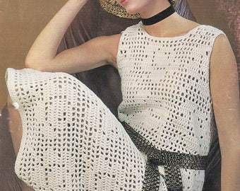 Womens crochet dress vintage crochet pattern pdf INSTANT download pattern only pdf flower motif