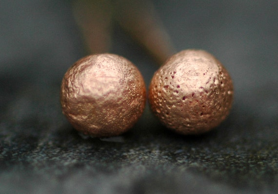 Little Solid 14k Rose Gold Drop Earrings- Made to Order