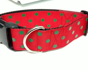 "Red and Green Polka-dot Dog Collar 1.5"" - READY TO SHIP - Only 1 Available At This Price"