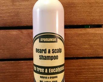 Aromaman Natural Hand Crafted Beard & Scalp Shampoo. Cleanses and Detangles Your Beard. 4 or 8 ounces.