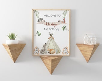 Welcome Sign for Baby Shower or Birthday // Woodland Party sign // Woodland theme baby shower signs // Birthay Welcome sign // 8x10