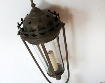 Antique 1910 Procession religieuse lampe lanterne 18 pouces hauteur Pays-Bas