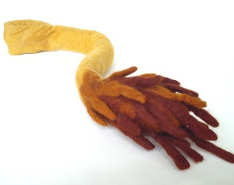 Lion King Tail hand felted in soft yellow merino wool with belt loop for fun Simba dressing up
