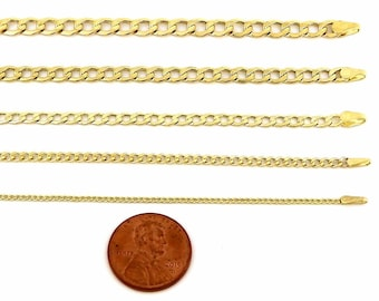 10k Hollow Gold Yellow Cuban Chain Necklace 1.5mm to 3.5mm for Women Girls Teenagers Kid