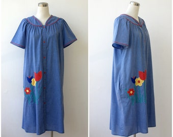 1970s Tent Dress Plus Size Dress Chambray Cotton Dress Oversized Dress Babydoll Summer Boho Dress Maternity Dress Short Sleeve Blue Dress