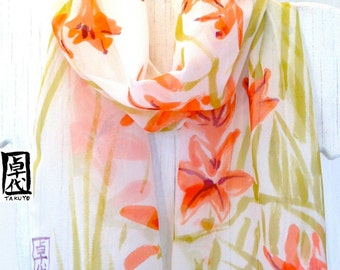 Silk Scarf Hand Painted, Japan Scarf, Silk Painting Art Scarf, Red and Orange Floral Scarf, Silk Chiffon Scarf, Japanese Freesia, In Stock